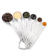 6pcs Portable Baking Tool Suit Stainless Steel Round Head Measuring Cup Kitchen Flavor Small Spoon High Grade