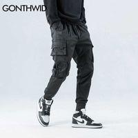 Gonthwid lateral zipper bolsos cargo harem corredores calças homens 2020 hip hop casual harajuku streetwear calças calças macias x0721