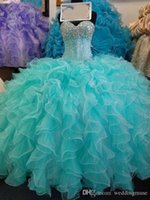 Mint Green Quinceanera Dresses Crystals Sweetheart Neck Sparkly Sequins Beaded Sleeveless Custom Made Sweet 16 Ruffles Party Princess Prom Ball Gown vestidos