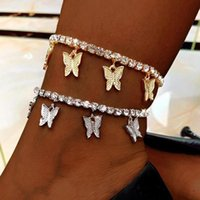 Charm Bracelets Gold Butterfly Anklet Bling Rhinestone Crystal Ankle Bracelet Boho Beach Anklets For Women Sandals Foot Female Jewelry