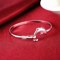 Bangle 925 Sterling Silver Cute Dolphin Bracelet For Women Wedding Engagement Fashion Charm Party Jewelry Gift