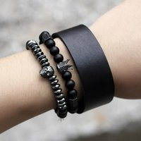 Beaded, Strands Couple Lovers Bracelet Fashion Black Matte Carneli Crown Copper Skull Bracelets For Women Friendship Holiday Gifts Jewelry