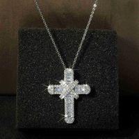 قلادة السيدات الماس الصليب مجوهرات قلادة حفل زفاف هدية