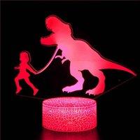 Luces de noche Luz 3D para dinosaurio MOYO MUCHACHA MUCHACHA 16 COLORES LED LED REMOTO TABLE TABLE LÁMPARA DE JUGUETE REGALO DE JUGUETES Regalos de Navidad