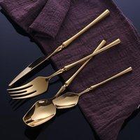 Talheres de aço inoxidável Talheres de ouro Conjunto de canecas Colher e forquilha Set Dinnerware Coreano Alimentos Cutelaria Acessórios de Cozinha DWB6197