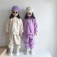 Baby Cotton Sweatshirt Clothing Sets Kids Boys Girls Summer Autumn Loose Tracksuit Pullovers Tops+pants 2pcs Sets Child Clothes 211020
