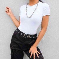 Casual Basic Blanco Body Body Mujeres Verano Manga corta Mujer Cuerpo Top Algodón Bodycon Jumpsuit Romper Ladies 210607