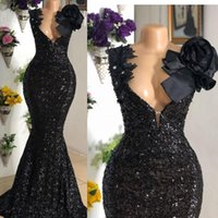 Robe Africano de Soiree Vestidos de Noite Preto 2021 Profundo V Neck Applique Frisado Vestidos Fiesta Lantejoulas Vestidos de Prom