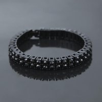 Link, Chain Hip Hop Iced Out Tennis Gold Silver Bracelets For Men Women Bling Black Rhinestone Bracelet Punk Rapper Jewelry