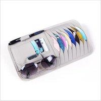 Aufbewahrungstaschen Multifunktions-Sonnenblende-CD-CD-Clip-Tasche Brille Pen PU-Auto-Paket Organizer Autozubehör DVD-Taschenhalter
