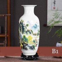 Vases Jingdezhen Chinese Porcelain Vase Short Neck Tube Shape Decorations Landscape Famille Rosetall Ceramic