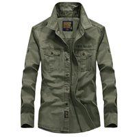 Camisas casuales para hombre Camisa del ejército de la marca de los hombres Hombres 2021 Primavera Otoño 100% algodón manga larga para hombre Talla grande 4xl 5xl 6xl negro