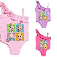 Cocomelon الكرتون المطبوعة البيكينيات طفل الفتيات قطعة واحدة المايوه الصيف الاستحمام الدعاوى كشكش ملابس الأطفال أكمام بحر g4yhbqy