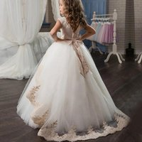 Girl's Dresses Elegant Ball Gown Flower Girl 2021 Appliques Sleeveless Kids Princess For Weddings First Communion Pageant Gowns