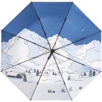 Umbrellas Creative Fully-Automatic Umbrella Woman Folding Snow Mountain Pattern Black Coating Parasol Anti UV Rain Paraguay