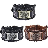 Norse Runes Vegvisir Compass Viking Bracelet Nordic Wristbands Wide Leather Bangle Men Jewelry Link, Chain