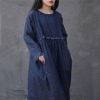 Robes décontractées Nefeilike 2021 Femmes automne Couleur Solide Patchwork Burr Simple Couleur O-Cou Taille Haute Taille longue Long Denim