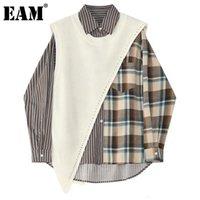 [EAM] Kadınlar Ekose Düzensiz Büyük Boy Bluz Yeni Yaka Uzun Kollu Gevşek Fit Gömlek Moda Gelgit İlkbahar Sonbahar 2020 1DD0081