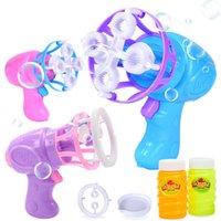Sommer Funny Magic Bubble Blasle Machine Elektrische Automatische Bubble Maker Waffe Mit Mini Fan Kids Outdoor Spielzeug Hochzeit Liefert 1404 y2