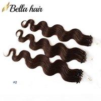 """Brasilianische Jungfrau-Haarschleife Micro Ring Haarverlängerungen Körperwelle 20 """"24"""" # 1 # 2 # 4 und blonde Schleife Haarschuss 1g Strand, 100g Pack Bellaha"""
