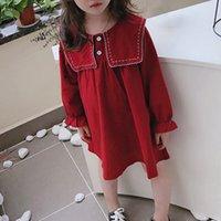 유머 곰 2021 봄 어린이 의류 소녀 긴팔 옷깃 버튼 한국 가을 대학 스타일 공주 여자 드레스