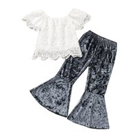 Kids Clothing Sets Girls Outfits Baby Clothes Suit Kid Summer Cotton Short Sleeve Lace Tops Blouses Flared Trousers Pants 2-6Y B5175