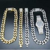Earrings & Necklace 2cm Hip Hop Gold Watch Jewelry Out Cuban Crystal Miami Silver Color Men Bracelet Set King