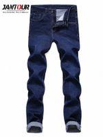 Jantour осень зима классические брюки джинсовые брюки мужские 2018 новые мужские моды джинсы бизнес случайные стрейч тонкие джинсы мужские G3CJ #