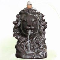 Cerâmicas Lion Heads Forma Incenso Queimador Backflow Antique Titular Aroma Terapia Figurine Home Tea Casa Escritório Decoração Fragrância Lâmpadas