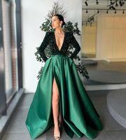 Dubaï manches longues Robes de soirée fractionnées Cou Deep V cou Perlé Balayage paillettes Trian Satin Satin Spécial Occasin Robes de bal