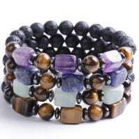 Lava Volcanic Bracelet Square Cube Amethyst Agate Tiger Eye Natural Stone Bead Strand Bracelets Women Men Fashion Jewelry Will and Sandy