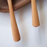 Grande legno rotondo minestra cucchiaio di faggio Riso in legno Ramen scoop Stile giapponese Cucina da cucina 20.5x6cm CCF7661