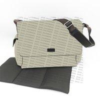Axelbelagd kanvas blöja väskor kvalitet äkta läder trim baby väska stor volym blöja byte bolsa