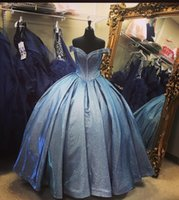 2022 Blingling V neck off the shoulder Quinceanera Prom Dresses with Sleeves Ball gown Sequined Satin Ruched Long Evening party dress Vestidos 15 Anos