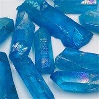 6 stücke fallen natürliche blaue titanium aura handwerk quarz kristall edelstein punkt heilung chakra für schmuck machen 620 s2
