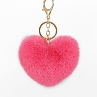Keychains Brand Handmade Heart Pompon Key Chain Artificial Fur Pompom Chains Bag Decoration Wallet Car Pendants Ring Gifts