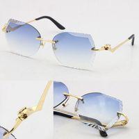 Großhandel Randlose Unisex Mode Leopard Serie Sonnenbrille Designer Metallfahren Schmetterling Gläser UV400 3.0 Dicke Frameless Diamant Cut Linse Brillen