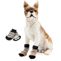 Dog Apparel 4Pcs set Pet Dogs Winter Shoes Non-slip Knit Socks Small Cat Chihuahua Thick Warm Protector Booties
