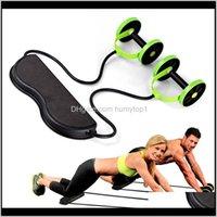 Silindirler Çok Fonksiyonlu AB Tekerlekler Rulo Streç Elastik Direnç Abdominal Kas Fitness Eğitimi Için Halat Aracı 4QMJ9 O3byJ