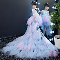 아기 첫 번째 성찬식 드레스 긴 후행 여자 드레스 아이 머메이드 미인 공 가운 결혼 생일 저녁 댄스 파티 가운