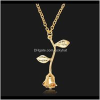 & Pendants Jewelryfashion Jewelry Pendant Rose Flower Gold Siver Chains Choker Necklaces Romantic Valentines Day Gifts Drop Delivery 2021 Mk