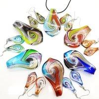 Mode 6Set Glas Murano Leaf Twist Hanger Ketting Oorbellen Sieraden Set