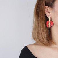 Encantos polímero argila brinco para mulheres vermelhas redondos macios feitos artesanais brincos bonito jóias festa presente corpo decoração