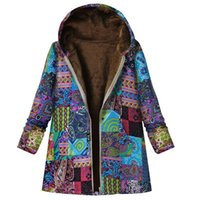 Women's Jackets Size Spring Park Coat Retro Floral Printed Thin Wool Winter Jacket Pocket Thick Hat Warm Street Clothing