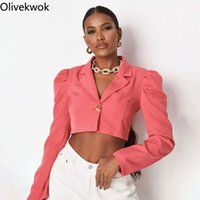 Women's Suits & Blazers Olivekwok 2021 Woman Fashion Solid Coats Puff Sleeve Sexy Notched Casual