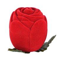 Flocking Red Jewelry Box Rose Rose Romántico Anillo Anillo Pendiente Colgante Collar Pantalla Embalaje de regalo