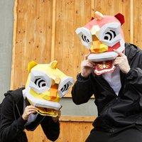 التميمة دمية زي 3d ورقة الصينية الأسد الرقص رئيس قناع القبعات الحيوان هالوين الدعائم امرأة الرجال حزب لعب دور اللباس diy الحرفية قناع