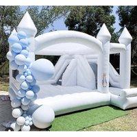 Gramado navio ao ar livre infantil adulto 13ft Inflável Inflável Branco Bounce Castelo Jumping House com Slide para evento de aniversário de casamento de festa