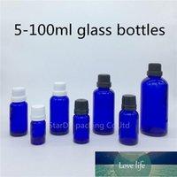 زجاجات تخزين الجرار 5ML 10ML 15ML 20ML 30ML 50ML 100ML زجاجة الزجاج الأزرق، زجاجة الزيت الأساسية مع العبث واضح غطاء العطور 200pcs