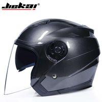Jiekai Open Face Casque Lumière Poids Sécurité Moto Double lentille 8 Couleur Disponible Scooter Casque Casco Moto Q0630